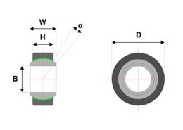 Drawing of a narrow spherical bearing
