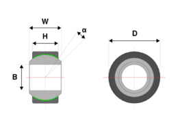 drawing of a heavy duty spherical bearing