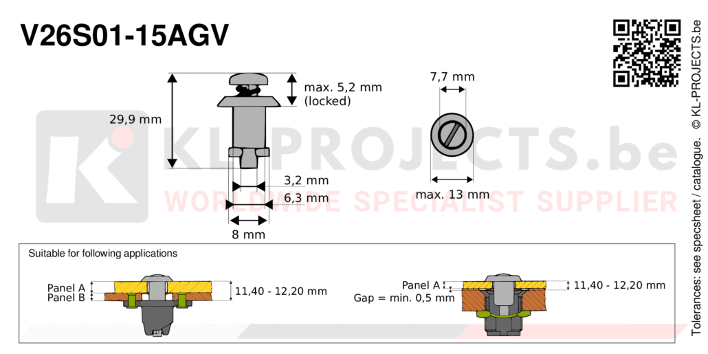 Camloc 2600 series V26S01-15AGV quarter turn fastener with slotted recess pan head