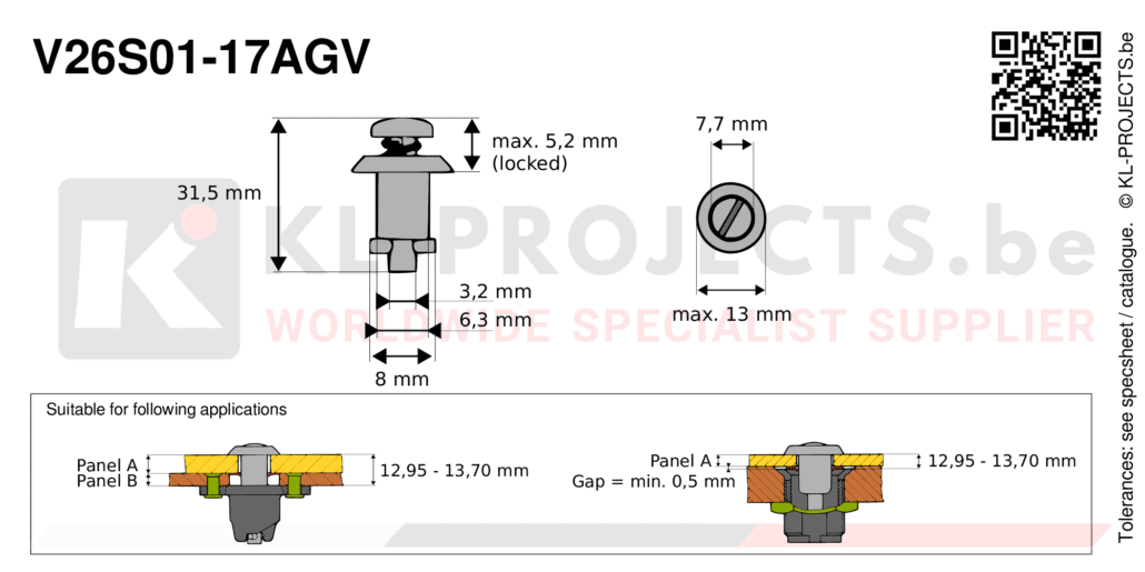 Camloc 2600 series V26S01-17AGV quarter turn fastener with slotted recess pan head