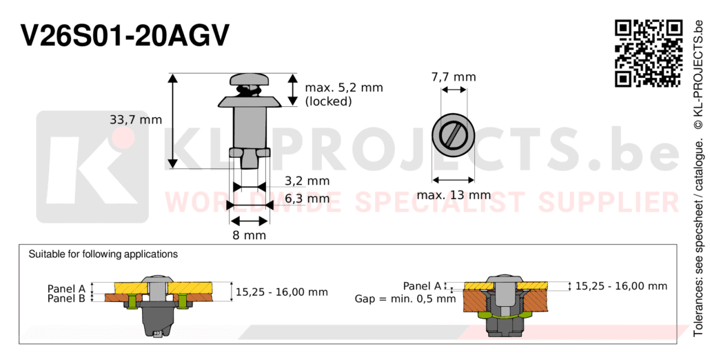 Camloc 2600 series V26S01-20AGV quarter turn fastener with slotted recess pan head