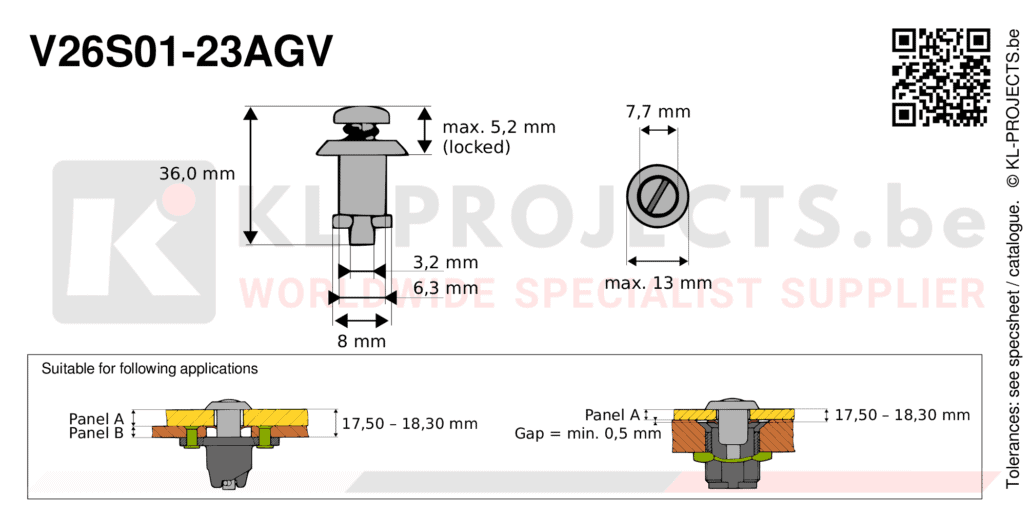 Camloc 2600 series V26S01-23AGV quarter turn fastener with slotted recess pan head