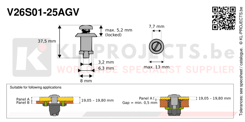 Camloc 2600 series V26S01-25AGV quarter turn fastener with slotted recess pan head