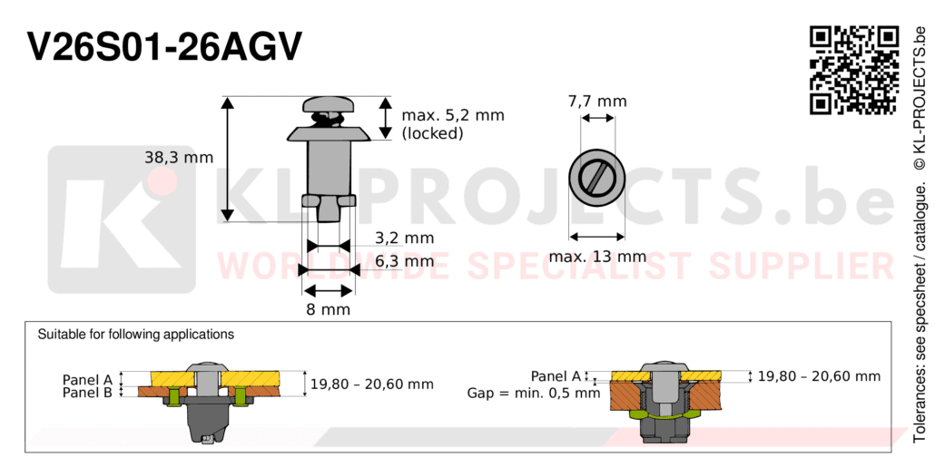 Camloc 2600 series V26S01-26AGV quarter turn fastener with slotted recess pan head