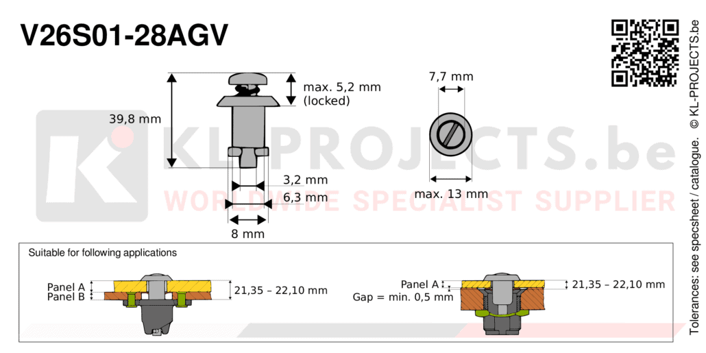 Camloc 2600 series V26S01-28AGV quarter turn fastener with slotted recess pan head