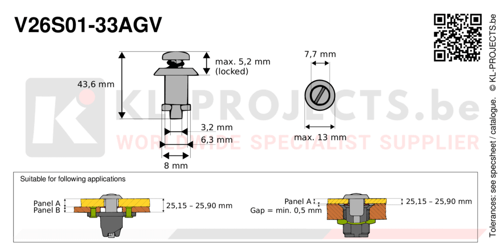 Camloc 2600 series V26S01-33AGV quarter turn fastener with slotted recess pan head