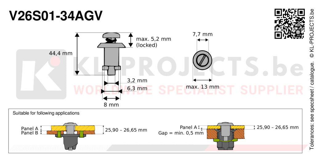 Camloc 2600 series V26S01-34AGV quarter turn fastener with slotted recess pan head