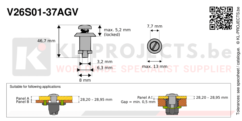 Camloc 2600 series V26S01-37AGV quarter turn fastener with slotted recess pan head