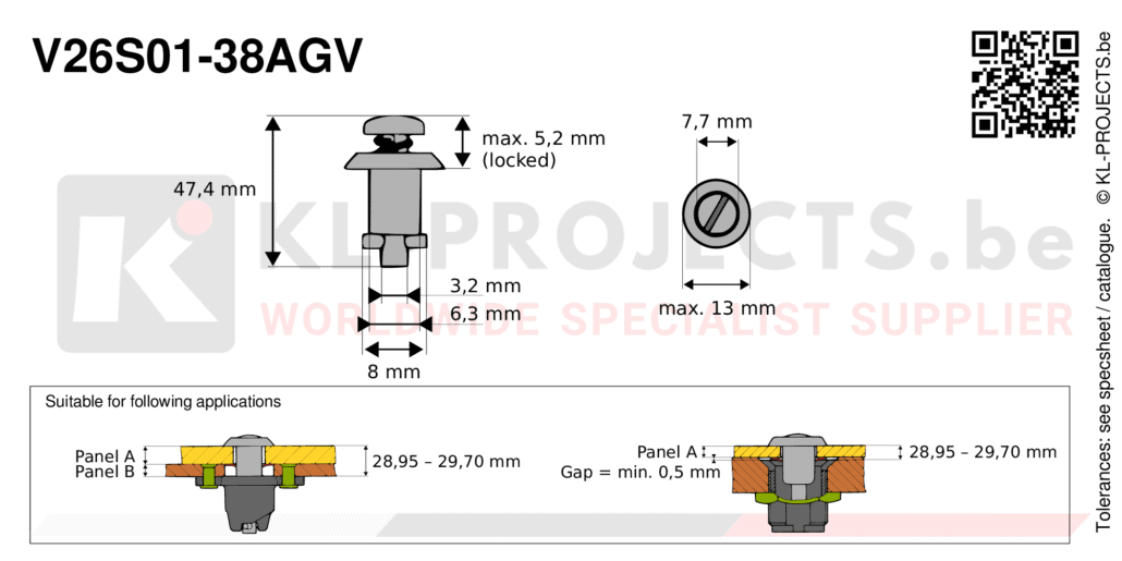 Camloc 2600 series V26S01-38AGV quarter turn fastener with slotted recess pan head