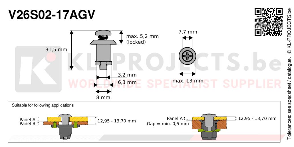 Camloc 2600 series V26S02-17AGV quarter turn fastener with cross recess pan head