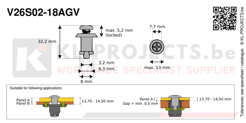Camloc 2600 series V26S02-18AGV quarter turn fastener with cross recess pan head