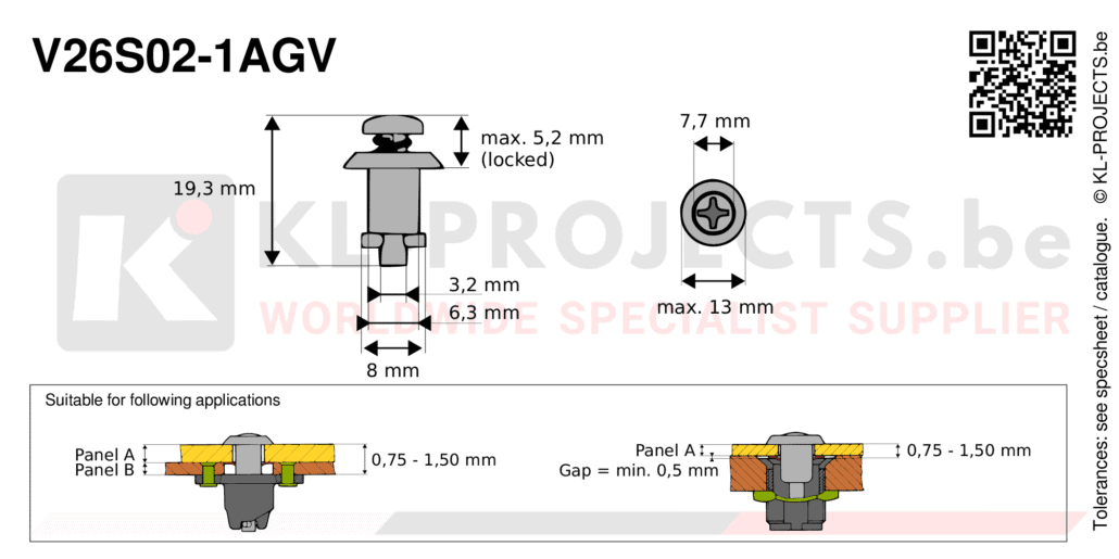 Camloc 2600 series V26S02-1AGV quarter turn fastener with cross recess pan head