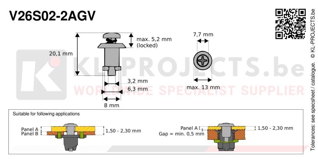 Camloc 2600 series V26S02-2AGV quarter turn fastener with cross recess pan head