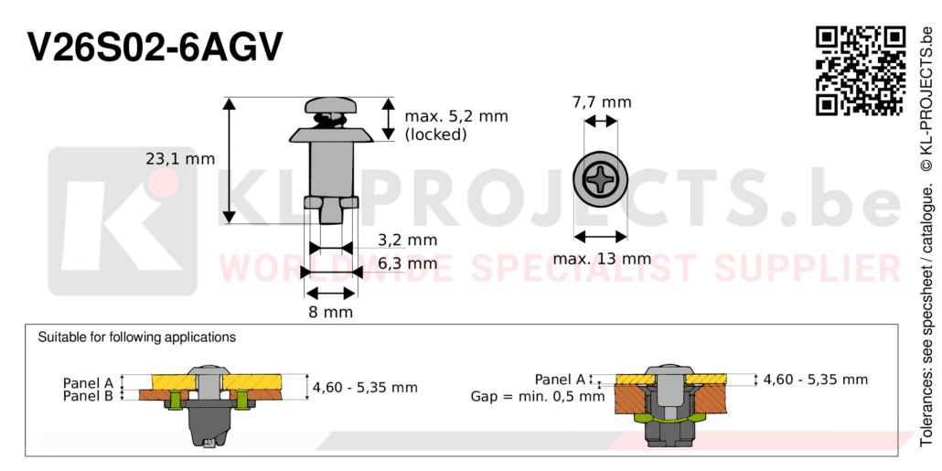 Camloc 2600 series V26S02-6AGV quarter turn fastener with cross recess pan head