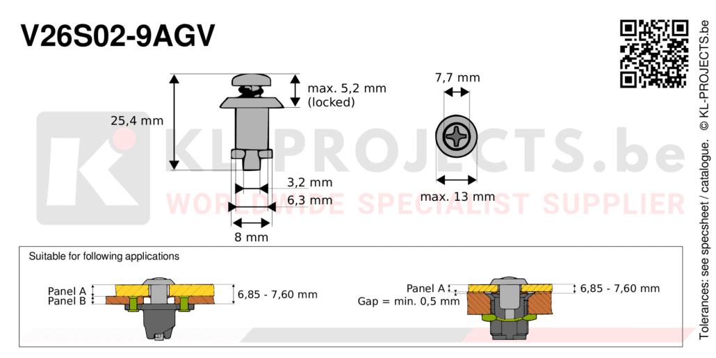 Camloc 2600 series V26S02-9AGV quarter turn fastener with cross recess pan head