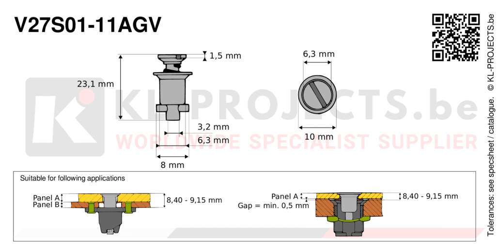 Camloc 2700 series V27S01-11AGV quarter turn fastener with slotted recess flush head