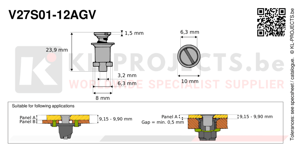 Camloc 2700 series V27S01-12AGV quarter turn fastener with slotted recess flush head