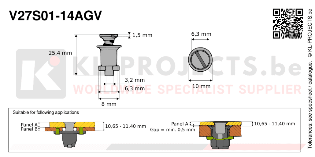 Camloc 2700 series V27S01-14AGV quarter turn fastener with slotted recess flush head
