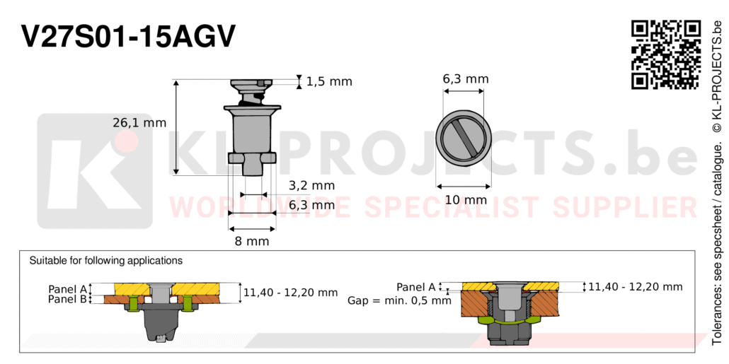 Camloc 2700 series V27S01-15AGV quarter turn fastener with slotted recess flush head
