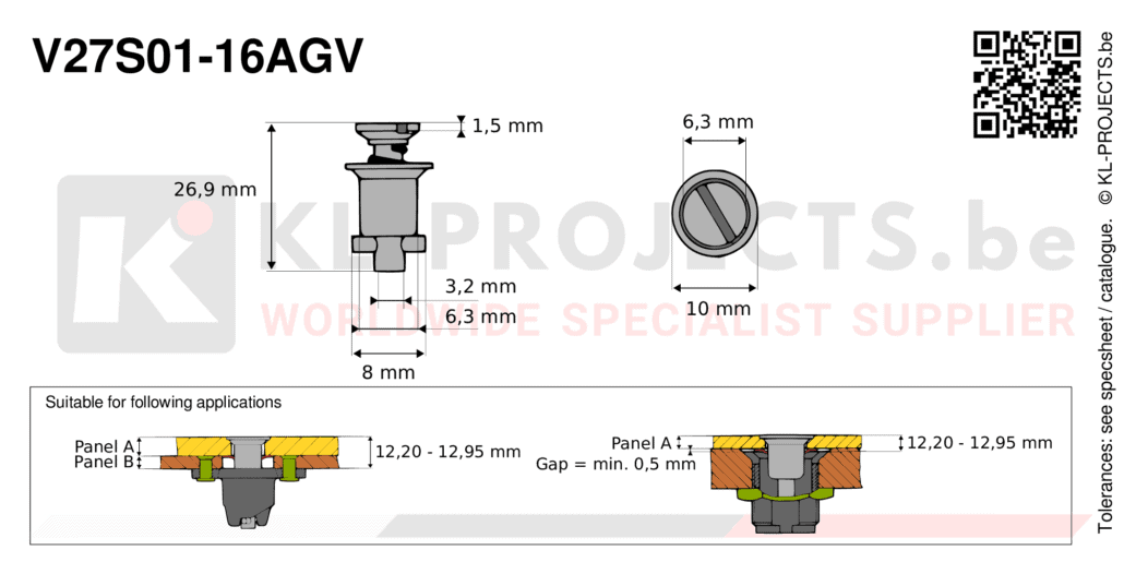 Camloc 2700 series V27S01-16AGV quarter turn fastener with slotted recess flush head