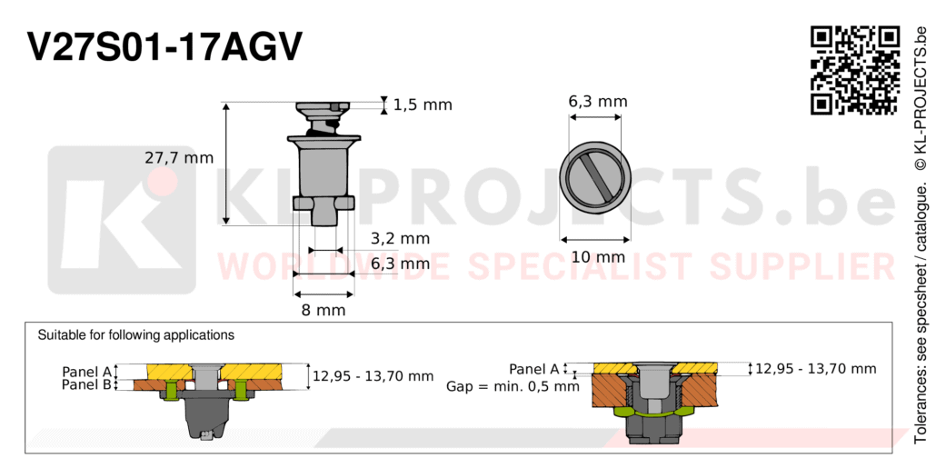 Camloc 2700 series V27S01-17AGV quarter turn fastener with slotted recess flush head