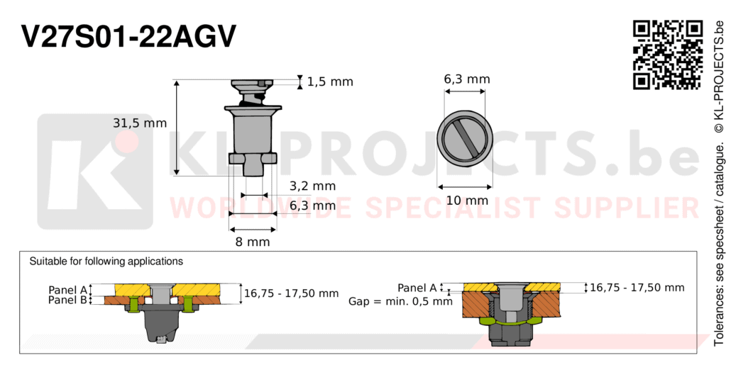 Camloc 2700 series V27S01-22AGV quarter turn fastener with slotted recess flush head
