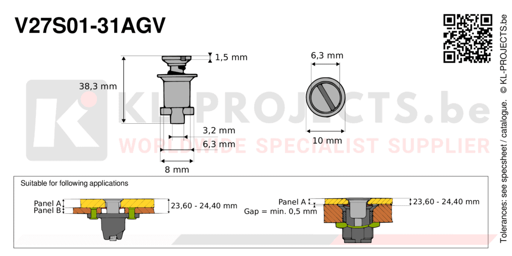 Camloc 2700 series V27S01-31AGV quarter turn fastener with slotted recess flush head