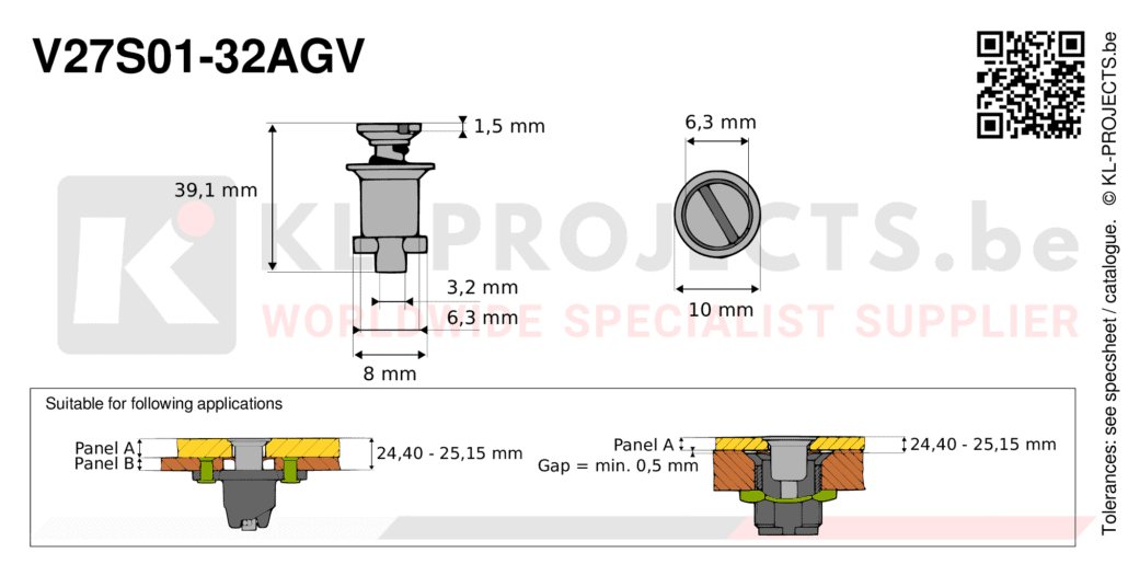 Camloc 2700 series V27S01-32AGV quarter turn fastener with slotted recess flush head