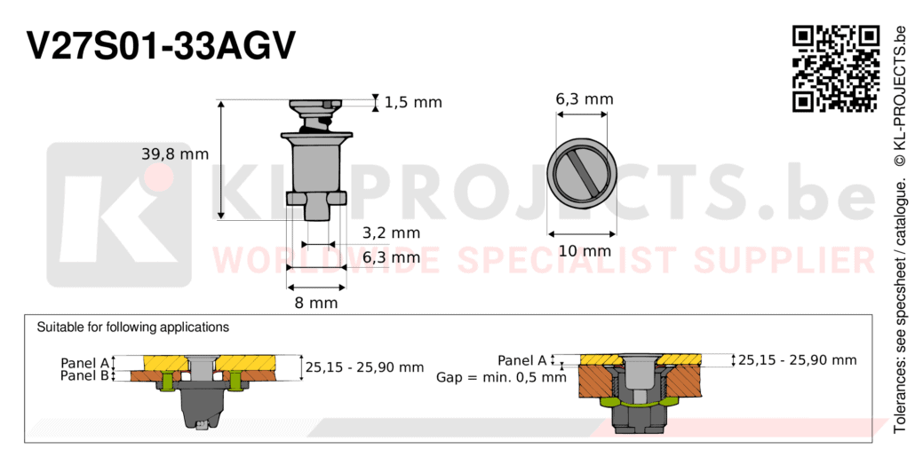 Camloc 2700 series V27S01-33AGV quarter turn fastener with slotted recess flush head