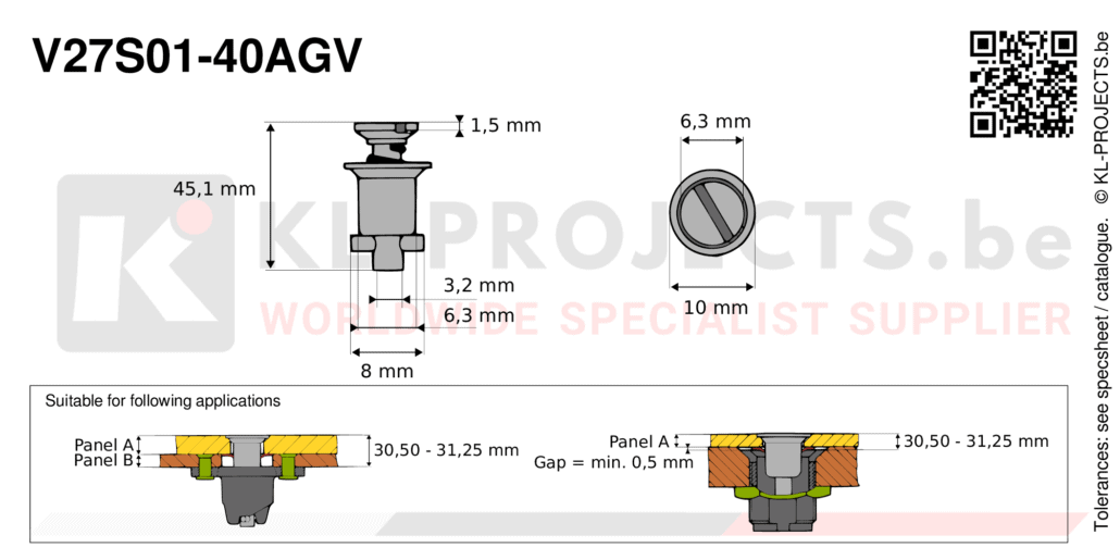 Camloc 2700 series V27S01-40AGV quarter turn fastener with slotted recess flush head