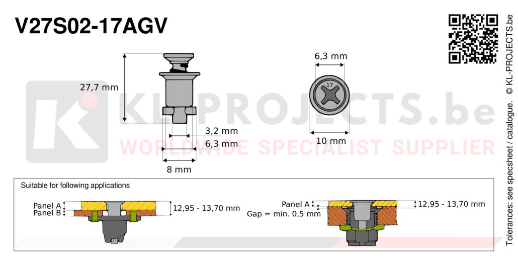 Camloc 2700 series V27S02-17AGV quarter turn fastener with cross recess flush head