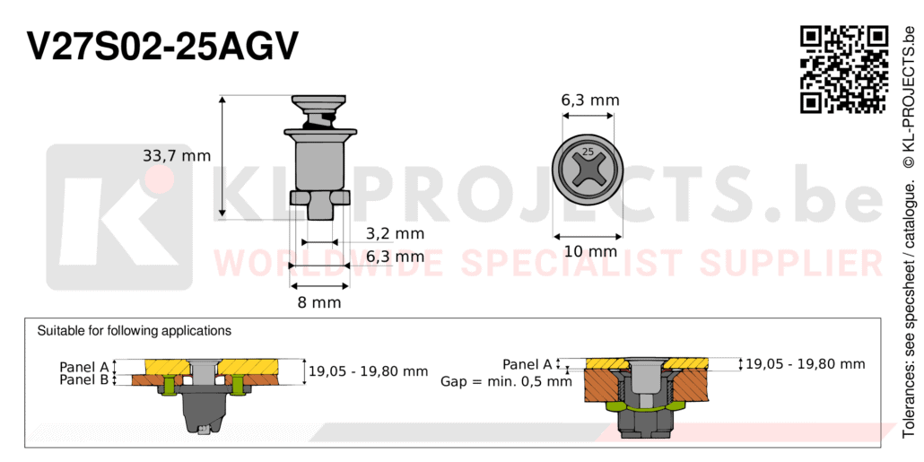 Camloc 2700 series V27S02-25AGV quarter turn fastener with cross recess flush head