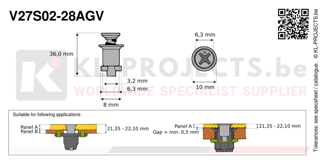 Camloc 2700 series V27S02-28AGV quarter turn fastener with cross recess flush head