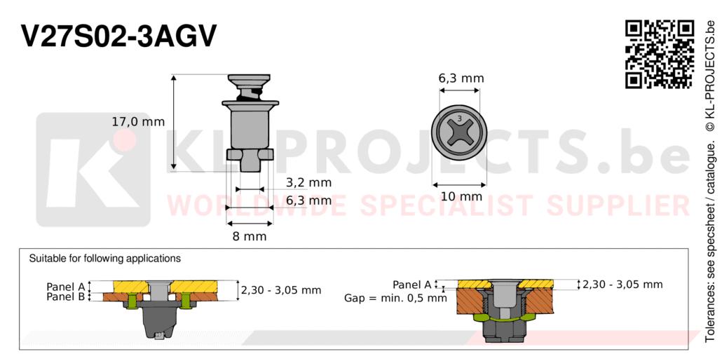 Camloc 2700 series V27S02-3AGV quarter turn fastener with cross recess flush head