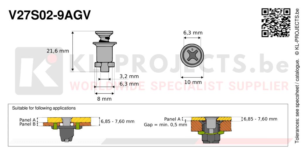 Camloc 2700 series V27S02-9AGV quarter turn fastener with cross recess flush head